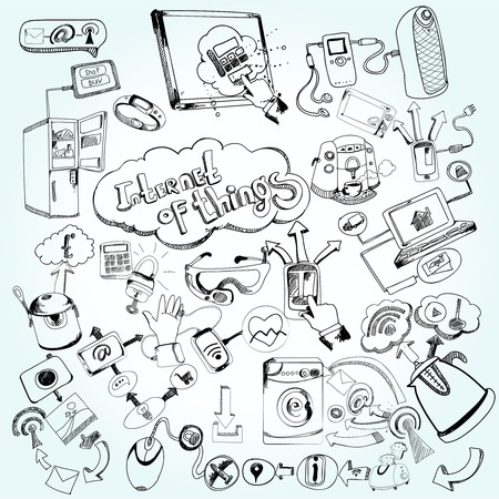 Internet of things concept with doodle decorative network technology icons set vector illustration