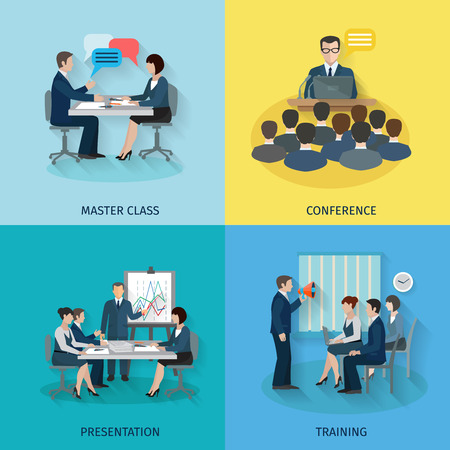 Conference design concept set with master class presentation training flat icons isolated vector illustration