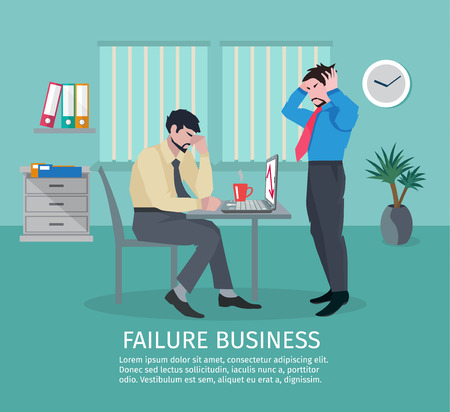 Failure business concept with frustrated people in office interior vector illustration