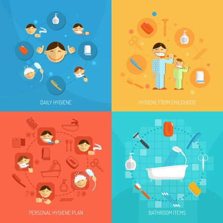 Personal daily hygiene design concept set with bathroom items isolated vector illustration