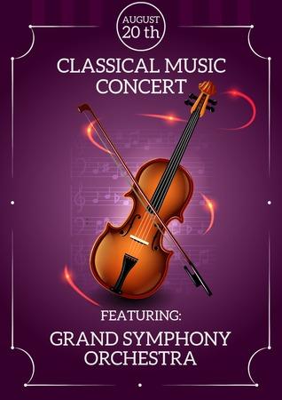 Illustration pour Classic music concert poster with violin and bow vector illustration - image libre de droit
