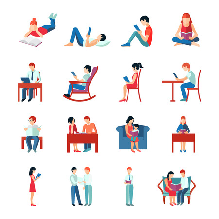 Illustration for Reading people flat character set with books magazines newspapers isolated vector illustration - Royalty Free Image
