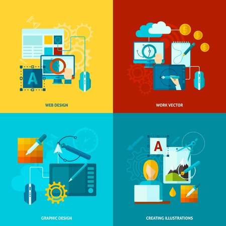 Graphic design concept set with web graphic creating flat icons isolated vector illustration