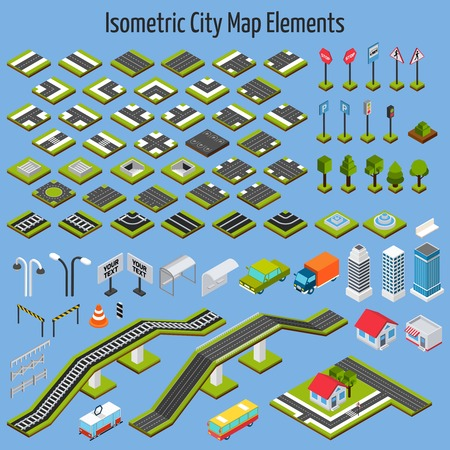 Illustration pour Isometric city map road and house construction elements set isolated vector illustration - image libre de droit