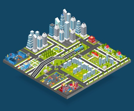 Isometric city with 3d houses manufacture office and store building blocks vector illustration