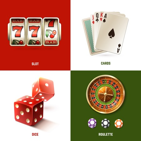 Casino design concept set with realistic slot cards dice and roulette isolated vector illustration