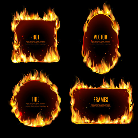 Illustration for Various hot fire flame frame set on the black background with center text isolated vector illustration. - Royalty Free Image