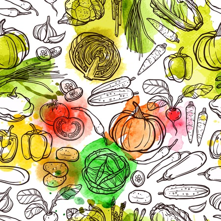 Photo for Watercolor vegetable pattern with sketch radish pepper eggplant tomato vector illustration - Royalty Free Image
