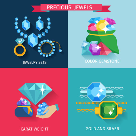 Precious jewels design concept set with gold and silver jewelry color gemstone flat icons isolated vector illustration