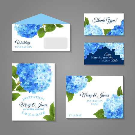 Wedding invitation cards set with hydrangea flower bouquet isolated vector illustration