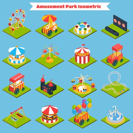 Amusement park isometric icons set with 3d ferris-wheel ice cream and balloons isolated vector illustration