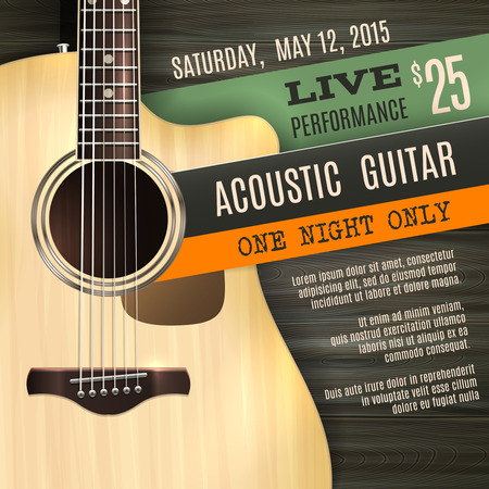 Illustration for Indie musician concert show poster with acoustic guitar vector illustration - Royalty Free Image