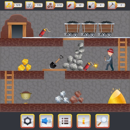 Illustration pour Mining game treasure hunt interface with assets signs and miner vector illustration - image libre de droit