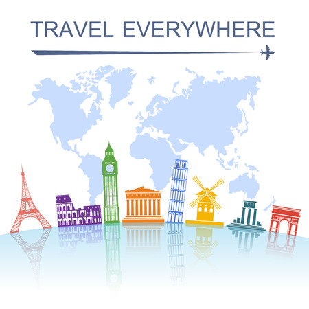 Travel agency spectacular worldwide sightseeing landmark tours concept poster with italian tower of pisa abstract vector illustration