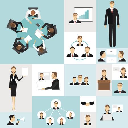 Illustration pour Colorful business meeting icons set of time money launch success symbols vector illustration. - image libre de droit