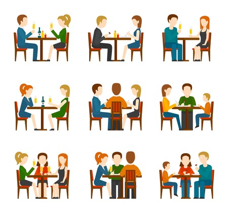 Illustrazione per Group of people eating and talking in restaurant or cafe flat icons set isolated vector illustration - Immagini Royalty Free