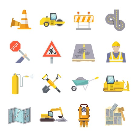 Illustration pour Road worker flat icons set with construction industry symbols and tools isolated vector illustration - image libre de droit