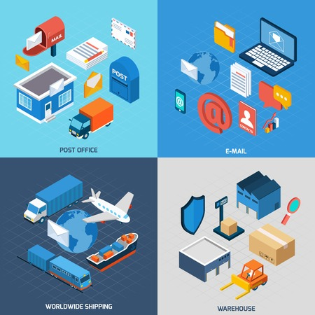 Mail design concept set with post office e-mail worldwide delivery and warehouse isometric icons isolated vector illustration
