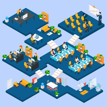 Illustration pour Multistory office isometric with business people and interior 3d icons vector illustration - image libre de droit