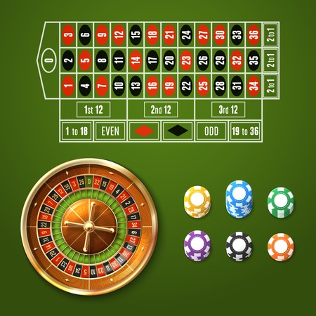 Casino gambling set with european roulette wheel and chips stacks isolated vector illustration