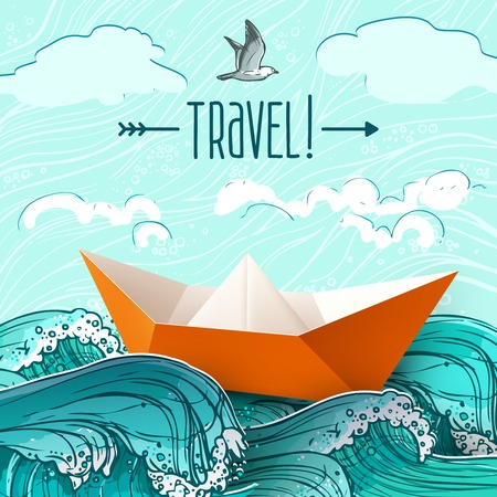 Illustration for Origami paper ship on hand drawn sea waves vector illustration - Royalty Free Image
