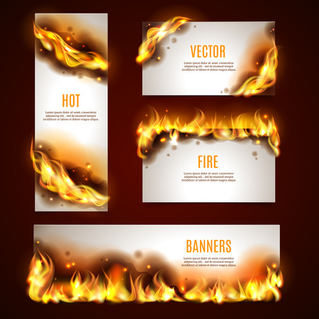 Hot fire strategic advertisement banners set for customers attraction to seasonal discount sales abstract isolated vector illustration