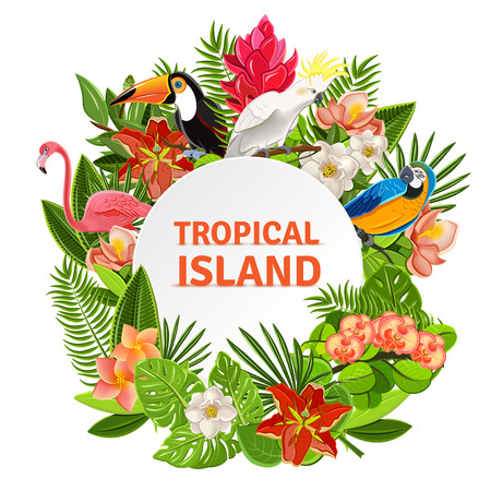 Tropical island circlet of beautiful plants flowers and exotic parrots frame pictogram poster print abstract vector illustration
