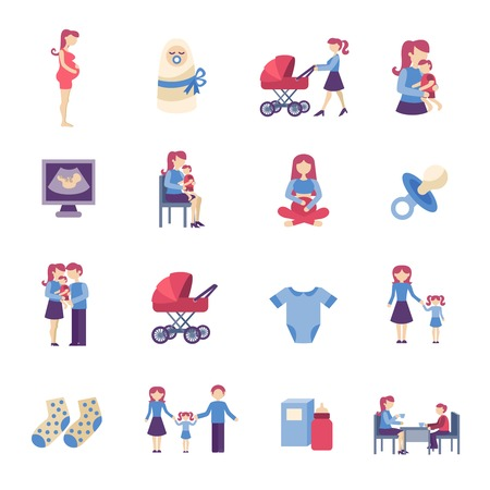 Illustration pour Motherhood pregnancy and maternity flat icons set isolated vector illustration - image libre de droit