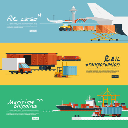 Vector of Logistic concept flat banners - ID:39267280