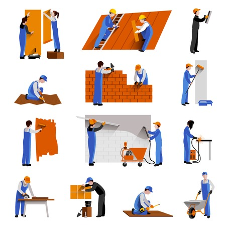 Illustration pour Workers builder engineers and technician icons set isolated vector illustration - image libre de droit