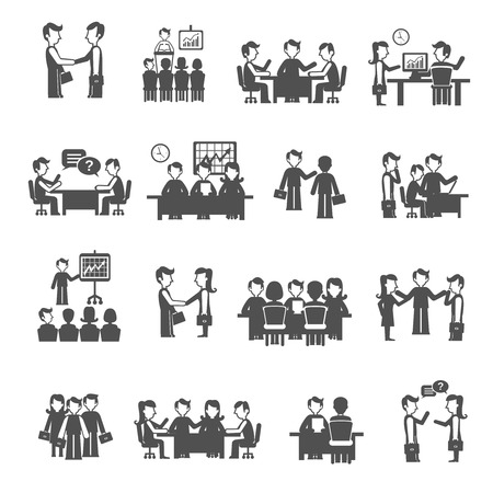 Illustration pour Meeting icons black set with men and women business personnel isolated vector illustration - image libre de droit