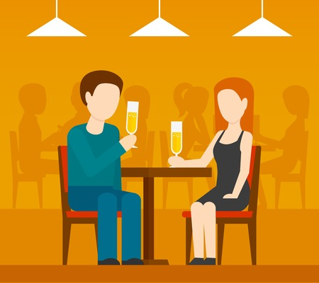 Young romantic couple sitting at the table drinking champagne date in restaurant with people silhouettes on background flat vector illustrationのイラスト素材