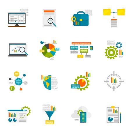 Data analytics computer database structure information analysis flat icons set isolated vector illustration