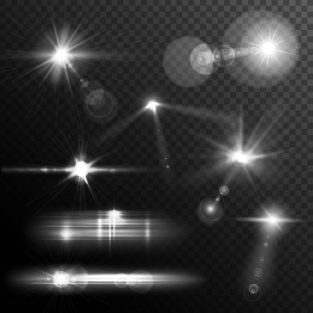 Realistic lens flares star lights and glow white elements on transparent background vector illustration