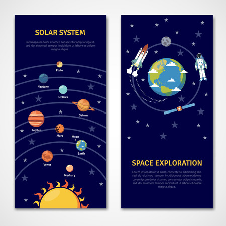 Solar system and space exploration concept isolated banners flat vector illustration