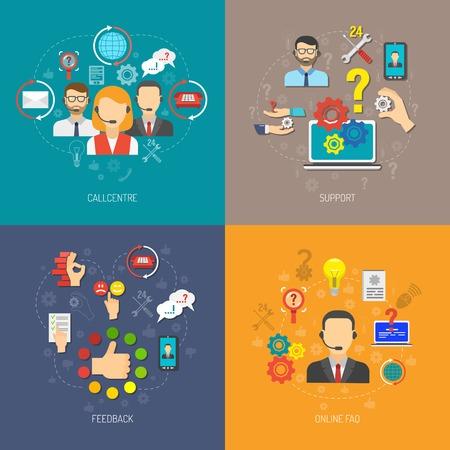 Ilustración de Support design concept set with online faq and 24h feedback flat icons isolated vector illustration - Imagen libre de derechos