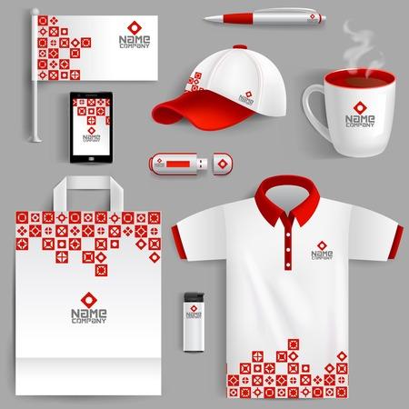 Foto de Corporate identity red set with realistic ad flag coffee mug paper bag isolated vector illustration - Imagen libre de derechos