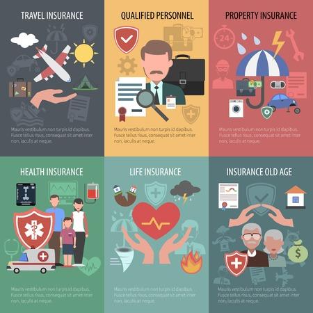 Foto de Insurance mini poster set with travel property old people health protection isolated vector illustration - Imagen libre de derechos