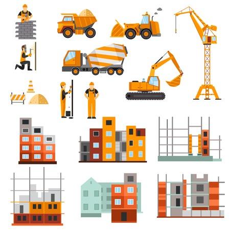 Illustration pour Construction machines builders and house building process decorative icons flat set isolated vector illustration - image libre de droit