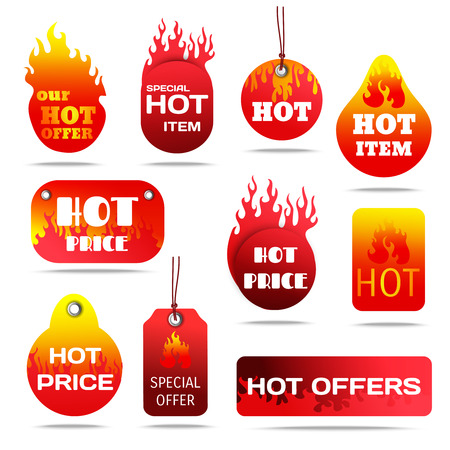 Hot sale and special offers with fire design labels set flat shadow isolated vector illustration