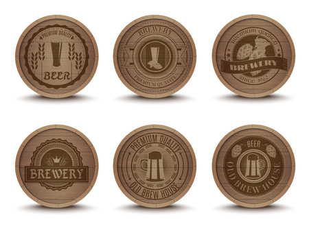 Wooden beer house emblems retro style beverage drip mats coasters  icons collection print abstract isolated vector illustration