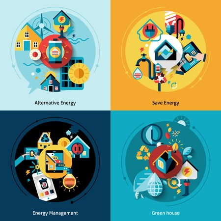Ilustración de Energy efficiency design concept set with alternative power management flat icons isolated vector illustration - Imagen libre de derechos