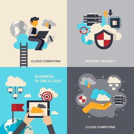 Cloud computing design concept set with internet security and business flat icons isolated vector illustration