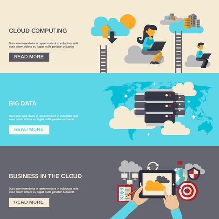 Illustration for Cloud computing horizontal banner set with big data flat elements isolated vector illustration - Royalty Free Image