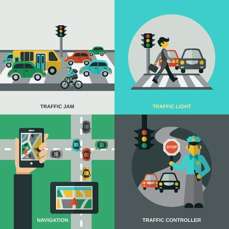 Traffic design concept set with navigation light controller flat icons isolated vector illustration