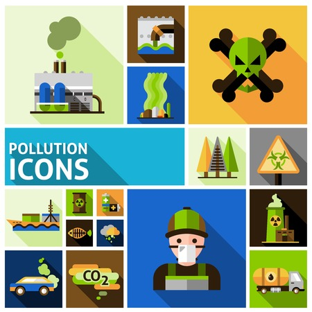 Pollution and environment toxic damage flat decorative icons set isolated vector illustration