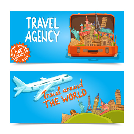 Photo for Around the world travel agency horizontal banners set with suitcase of famous sightseeings  isolated vector illustration - Royalty Free Image