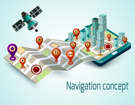 Navigation concept with cartoon mobile phone and isometric map with route markers vector illustration