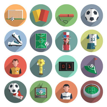 Ilustración de Soccer sport flat round icons set with corner ball and scoreboard abstract shadow isolated vector isolated illustration - Imagen libre de derechos