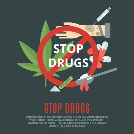 Stop drugs concept with marijuana leaf syringe and pills flat icons set vector illustration